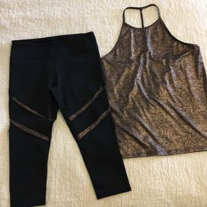 Fabletics Shimmery Gold Tank Top and Leggings Set